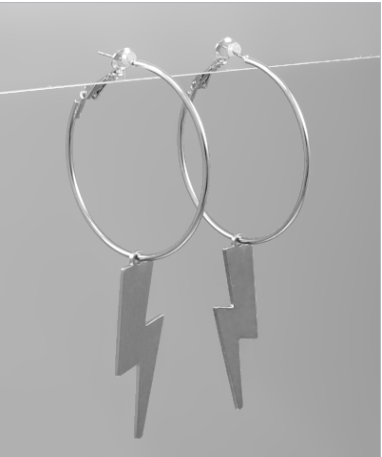 Lightning Dangle Earrings - Rhodium