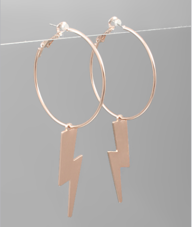 Lightning Dangle Earrings - RoseGold