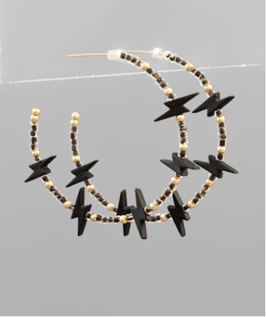 Colored Lightning & Bead Hoops - Black/Gold