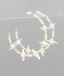 Color Lightning & Bead Hoops - White/Gold