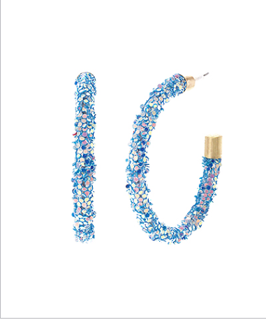 40 mm Glitter Open Hoops - Blue/WG