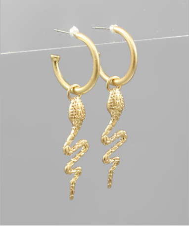 Snake Dangle Open Hoops