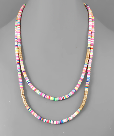 Rubber Beaded Layer Necklace