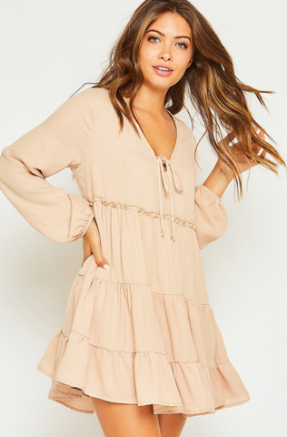 Taupe Solid Woven Dress with Frill Detail