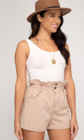 Peach Taupe Washed Shorts With Elastic Waistband