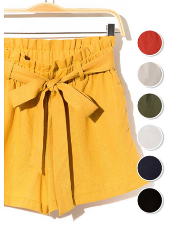Moth Grey Belted Linen Blend High Waist Paperbag Shorts