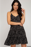 Cami Woven Printed Dress with Waist Drawstring Detail