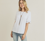 Frill Sleeve Drop Shoulder Top