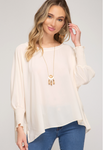 Long Smocked Batwing Sleeve Woven Oversized Top