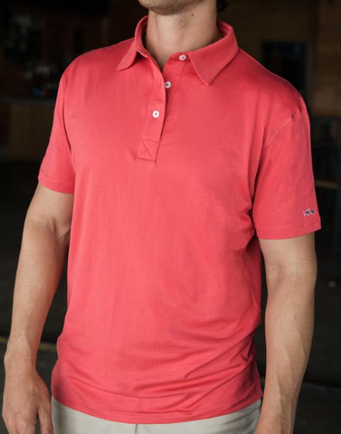 Fish Hippie Beacham Solid Polo - Strawberry
