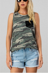 Brushed Camo Tank With Lace Pocket Detail