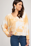 Dolman Long Sleeve Tie Dyed Knit Top