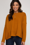 Long Sleeve Rib Knit Round Neck Top-Mustard