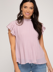 Ruffled Sleeve Pleated Top-Misty Lilac