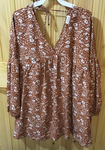 Flower Printed Woven LS Dress-Rust/Off White