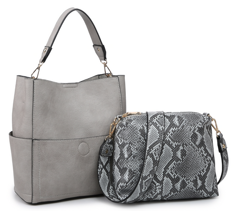 Abby Python Grey Bucket Purse Combo with a Cross-body