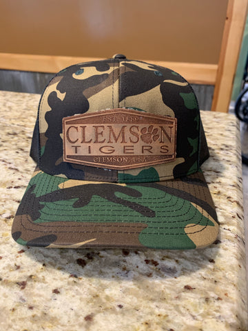Camouflage Hat with Clemson Tigers Leather Patch
