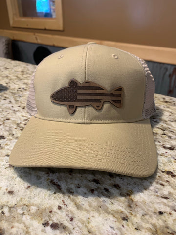 Khaki Hat with Fish and American Flag Leather Patch