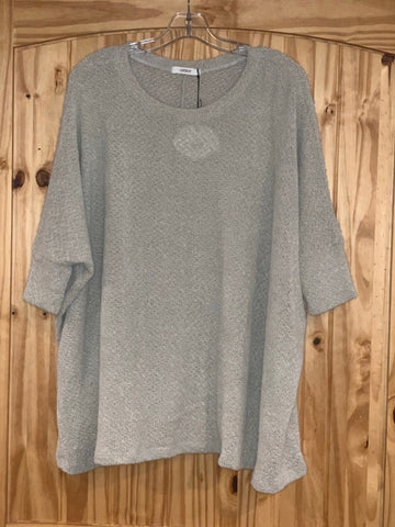 Silver Boxy Drop Shoulder Brushed Eyelash Knit Top