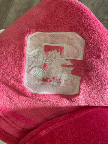 Pink Blanket With White UofSC Gamecock Embroidery