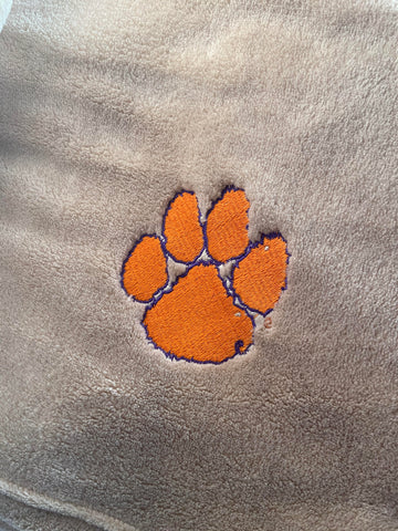 Tan Blanket with Clemson Paw Embroidery