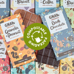 Plastic free chocolate, chocolate in compostable wrapping