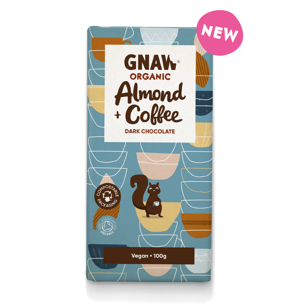Organic Almond & Coffee Dark Chocolate • Vegan