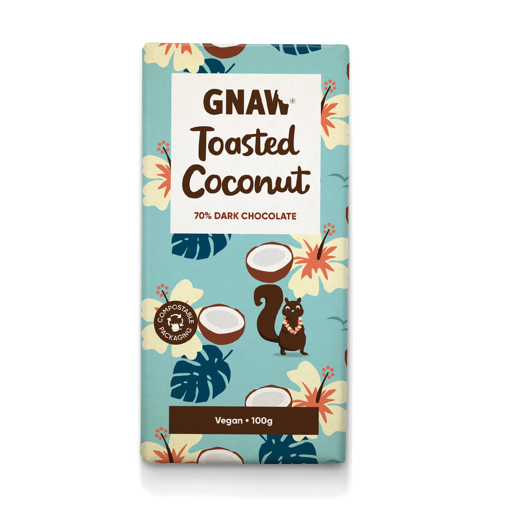 Toasted Coconut 72% Dark Chocolate Bar • Vegan