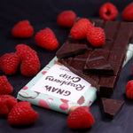 Raspberry Crisp Dark Chocolate Bar • Vegan