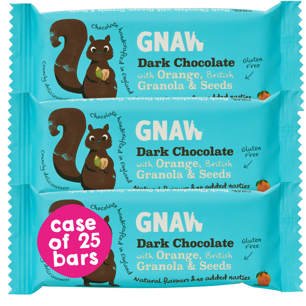 Dark Chocolate with Granola & Orange • Case 25 x 35g bars • Vegan 🌱