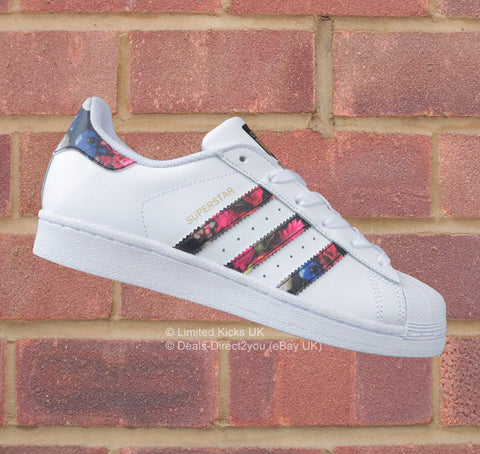 "Adidas Originals Superstar (J) - White/Black ""Flower Print"""