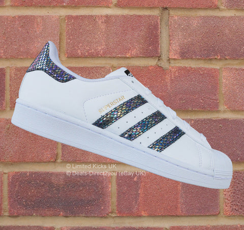 "Adidas Originals Superstar (J) - White/Black ""Metallic Snake"""