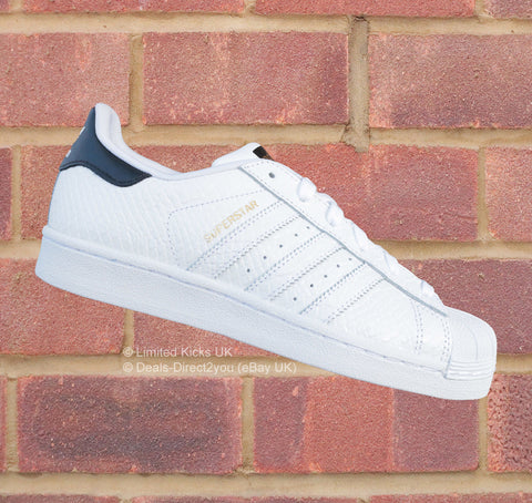 "Adidas Originals Superstar (J) - White/Black/Gold ""Snake Print"""