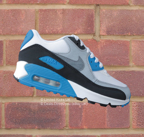 Nike Air Max 90 (GS) - White/Cool Grey/Photo Blue/Black