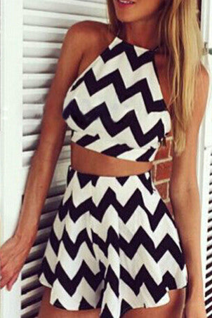 Sexy Halter Neck striped two-piece