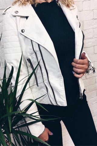 Lapel Long Sleeves Leather Fashion Cardigan Jacket Coat