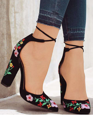 Flower Embroidery Fashion High Heels Shoes