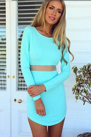 Fashion Solid Color Round Neck Bodycon Dress