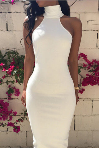 Solid Color High-necked Backless Dress