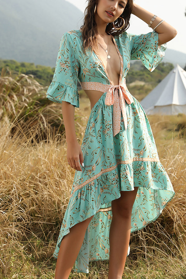 New deep V-neck lace-up backless retro print irregular large swing dress