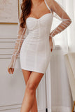 Fashion sexy wrapped dress stitching gauze sleeve dress nightclub fashion slim dress