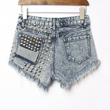 Rivets Holes denim shorts