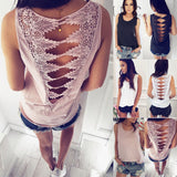 Sexy Backless Lace Solid Color Shirt Blouse Tops