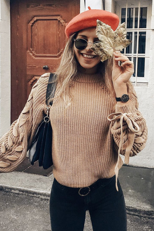 Strappy Scoop Neck Knit Fashion Top Sweater Pullover
