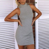 Solid Color High Necke Bodycon Dress