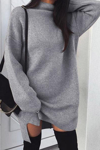 Knit Loose Long Sleeves Top Sweater Pullover Dress