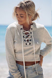 Lace Up Long-Sleeved Tops Sweater