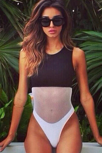 Stitching Mesh One Piece Swimsuit Swimwear