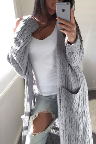 Long Sleeves Loose Pocket Cardigan Jacket Coat