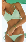 Solid Color Cross Strappy Bikini Swimsuit Swimwear
